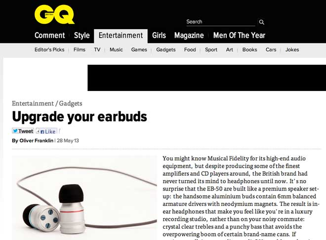 GQ Magazine Loves the EB-50's 'Luxury Recording Studio' Sound