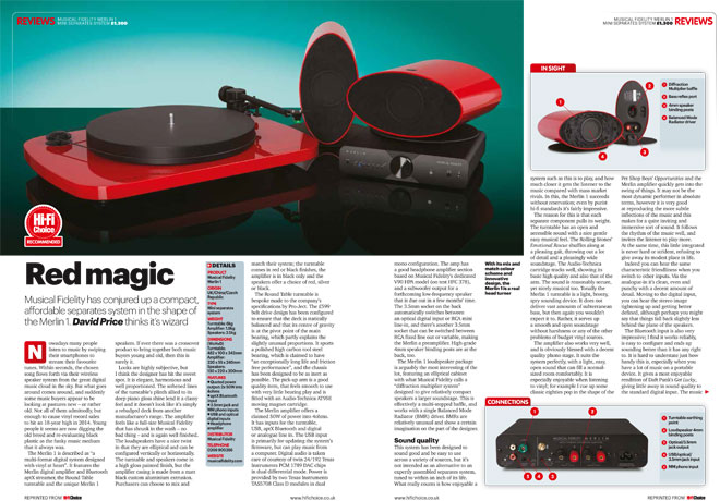 "Hi-Fi Choice Magazine Declares Merlin System ""A Real Head-Turner"""