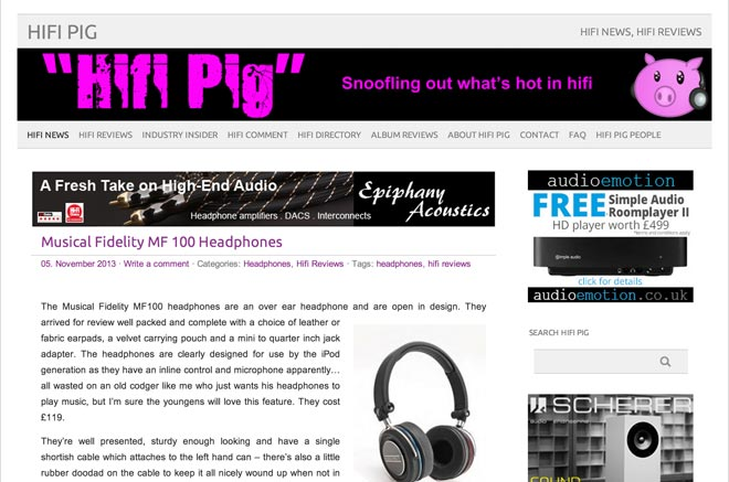 """Image for MF-100 Headphones Win Hi-Fi Pig """"Recommended"""" Award"""