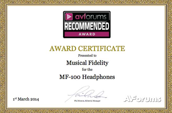 MF-100s Win Recommended Award